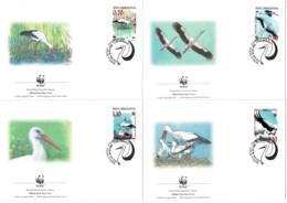 Bosnia & Herzegovina 1998 White Stork Set Of 4 WWF FDCs - Bosnien-Herzegowina