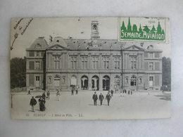 AVIATION - ELBEUF - L'hôtel De Ville (animée) - Avec Vignette De La Semaine D'aviation De Rouen Des 19-20 Juin 1910 - Fliegertreffen