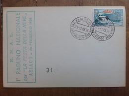 REPUBBLICA - Marcofilia - 1° Raduno Festa Della Neve - Asiago 1956 + Spese Postali - F.D.C.