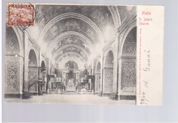 MALTA S. John's Church Interior 1904 Old Postcard - Malta