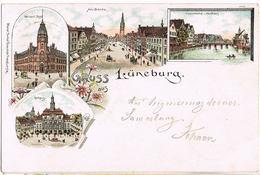 Litho Gruß Aus Lüneburg, Post, Am Sande U.a. 1899, Bahnpoststempel Wittenberge - Buchholz - Lüneburg