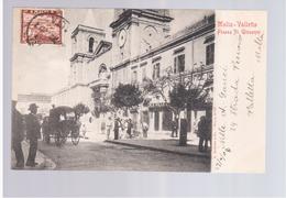 MALTA Valletta Piazza St. Giovanni 1904 Old Postcard - Malta