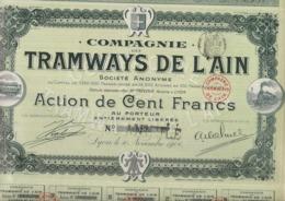 COMPAGNIE DES TRAMWAYS DE L'AIN - LOT DE 5 ACTIONS DE 100 FRS  -ANNEE 1906 - Cinéma & Theatre