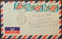 Nigeria - Cover To USA 1989 Flower Iko Empene - Nigeria (1961-...)