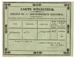 VP17.146 - NISMES ( NIMES ) 1830 - Carte D'Electeur - Mr Lévi PLANCHON à SAINT - HIPPOLYTE ( Gard ) - Other