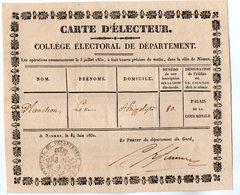 VP17.147 - NISMES ( NIMES ) 1830 - Carte D'Electeur - Mr Lévi PLANCHON à SAINT - HIPPOLYTE ( Gard ) - Other