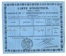 VP17.148 - NISMES ( NIMES ) 1830 - Carte D'Electeur - Mr Lévi PLANCHON à SAINT - HIPPOLYTE ( Gard ) - Other
