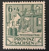"""1946 Provinz Sachsen : Wiederaufbau Mit Plattenfehler I (dunkles Rechteck Rechts Am Wertziffer ,,4"""" Mi.87 AI**) - Zona Sovietica"""