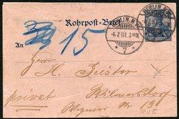 DT.REICH ROHRPOSTUMSCHLAG   RU 4a, STPL KGS BERLIN NW 7 AUS 1901 - Entiers Postaux