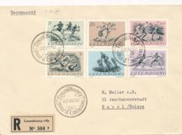 Luxemburg - 1952 - Olympic Summer Games Helsinki - Set 1st Day On Cover To Basel / Schweiz - Luxemburg