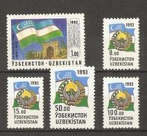 Ouzbékistan 1992/3 - Drapeau Et Armoiries - Série Complète MNH - Sc 3 - 30/34 - Flag - Arms - Usbekistan