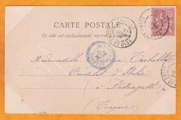 1903 - Carte Postale D' Ermont, Seine Et Oise Vers Dedeagh, Bureau Français En Turquie - Cad Cercle Et Pointillé - 1900-29 Blanc