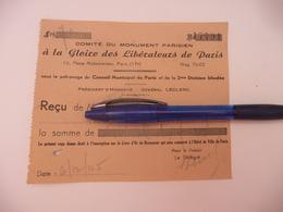 """Reçu Document 1945 Comité Du Monument Parisien """" à La Gloire Des Libérateurs De Paris ( Patronage 2 éme Division Blindée - Other"""