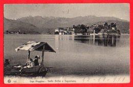 [DC6127] CPA - LAGO MAGGIORE - ISOLA BELLA E SUPERIORE  - ANIMATA - Viaggiata 1911 - Old Postcard - Verbania