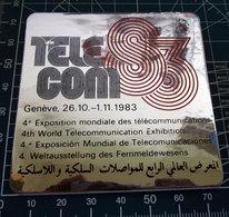 TELECOM GENEVE 1983 EXPOSITION  VINTAGE STICKER ADESIVO NEW ORIGINAL - Pegatinas