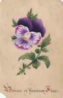 Carte - Bonne Et Heureuse Fete - Celluloïd - Peinte à La Main - Documentos Antiguos