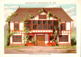 2 Chromos Exposition Universelle Paris 1878 : Pavillon Etats-Unis Et Amèrique Anglaise - Other
