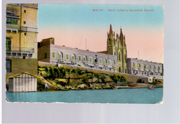 MALTA St Julians Carmelite Church Ca 1915 Old Postcard - Malta