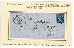 JURA : T 15 LES ROUSSES + OR ( Bois D'Amont ) + PC 2746 Sur N° 14 En 1860 - 1849-1876: Classic Period