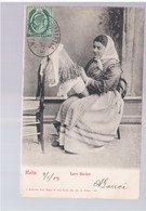 MALTA Lace Worker  1904 Old Postcard - Malta