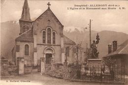 ALLEMONT   .  L'EGLISE ET LE MONUMENT AUX MORTS . - Allemont