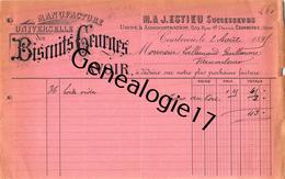 92 2510 COURBEVOIE SEINE 1897 Manufacture Universelle De BISCUITS GRURGES Biscuiterie M. J. ESTIEU Rue Saint Denis A LAL - France