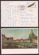 Fischotter 25 Pf. Auslandspostkarte, DDR 3108 Portogenau Aus Dresden Nach Lippstedt, Ak Neumarkt Zu Dresden Canaletto - [6] Oost-Duitsland