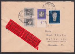 Höhnstedt über Halle Saale Eil-Brief, Portogenau Mit 25+15 Pf. Rudolf Breitscheid, 25.2.58, DDR 607A - [6] Oost-Duitsland