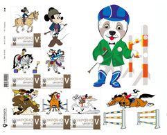 Ukraine 2019, Horseback Riding, Disney Cartoon Characters, Sheetlet Of 6v - Ukraine
