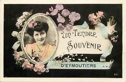 - Haute Vienne - Ref-A371- Eymoutiers - Un Tendre Souvenir ..- Souvenir De .. - Portrait Femme Et Fleurs - - Eymoutiers