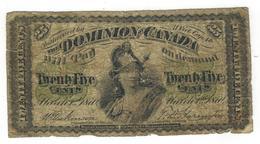 Dominion Of Canada, 25 Cents 1870. G. - Kanada