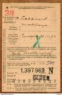 Fiche Mod.40   LIVRET D'EPARGNE CGER ASLK  Obl  ISEGHEM 1938 +  Griffe Linéaire - Marcophilie