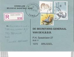 Buzin N°2294  Sur 1 CP Recommandé / Aangetekend De BERINGEN (3580)(Heusden/Diest) Le 1 VI 92 - 1985-.. Vögel (Buzin)