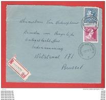 RECOMMANDE - AANGETEKEND -  L (devant) Col Ouvert Et Poortman Obl MOUSCRON MOESKROEN 3 - 5 XII 1951 - 1936-51 Poortman