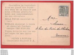 Préo 1911 GELDENAKEN / JODOIGNE Sur CP Pub Chocolat Suisse PETER & KOHLER - Precancels