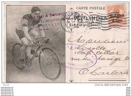 OC Sur Magnifique CP Illustrée Cycliste, Vélo, Fiets, Bicycle Vers Charleroi (obl Arrivée) + Censure - WW I