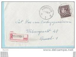TP 434 (Poortman)  Seul Sur Dvt De Lettre Recommandée  Obl MOUSCRON 2 B / 7-1-63 - Lettres & Documents