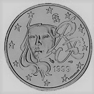 MONNAIE FRANCE 1 Cent 1999 Euro Fautée Non Cuivrée Etat Superbe - Errors And Oddities