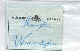 Belgie - Belgique - Télégramme  Naar Wommelghem  29 Sep 1909 - Relais - 1869-1883 Léopold II