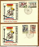 LIEGE Cyclisme  TP 1255/1258 Ligue Vélocipédique Belge Vélo Fiets Cycle Obl TOUR DE FRANCe 22 VI  1965 - Cycling
