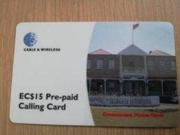 ST KITTS & NEVIS  $15,- GOVERNMENT HOUSE NEVIS  SKB -19   Prepaid     Fine Used Card  ** 2108** - Saint Kitts & Nevis