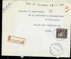 Doc. De BERLEUR - A A - Du 29/02/64 En Rec. - Poststempel
