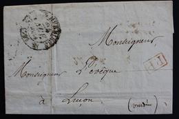 1834 LAC LES HERBIERS CAD TYPE 12 DU 24/11/1834 POUR LUCON CAD ARRIVEE DU 25/11/1834 TYPE 12 MARQUE P.P. ROUGE - 1801-1848: Vorläufer XIX