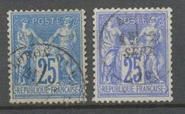Classique Sage N°78 25c Outremer Et N°79 25c Bleu Type II N/U Oblitéré TB. X248 - 1876-1878 Sage (Type I)