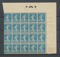 Semeuse N°140 25C Bleu En Bloc De 20 Avec Repère Neuf Luxe ** TTB. P5086 - France