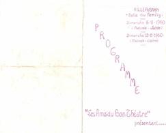 """Programme Salle Du Family Villefagnan, Dimanches 6 Et 13/11/1960 : """"Les Amis Du Bon Théâtre"""" - Programs"""