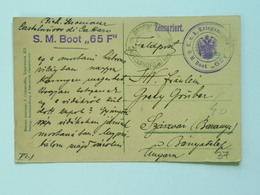 37 Austria KuK K.u.K.marine Navy Pola Kriegsmarine Ship Schiff Stamp Stampel 1916 S M B S.M.B.65 F - Guerre