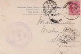 INDE : PERFORE SUR CP . DU CONSULAT DU CHILI . CALCUTTA POUR LA FRANCE . 1909 . - India (...-1947)