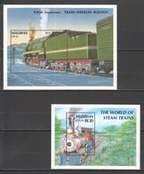 J1035 MALDIVES TRANSPORT TRAINS TRANS-SIBERIAN THE WORLD OF STEAM 2BL MNH - Trains