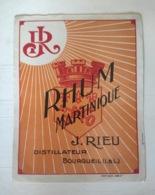 Etiquette Ancienne - Rhum Martinique - J Rieu Distillateur Bourgueil Indre Et Loire - Vernis - Whisky